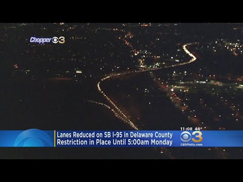 Lanes Reduced On SB I-95 In Delaware County
