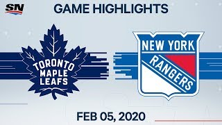 NHL Highlights | Maple Leafs vs Rangers - Feb. 5, 2020