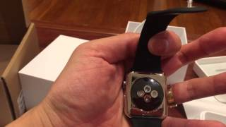 unboxing apple watch 42mm stainless steel case with black spot band