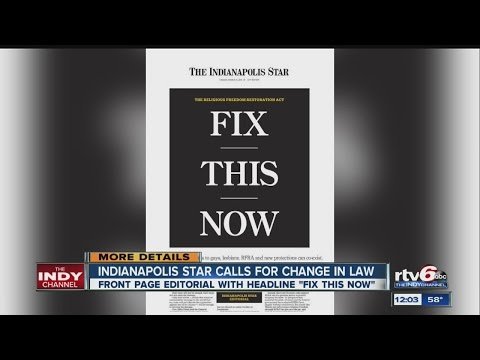 Indianapolis Star calls for change in RFRA law