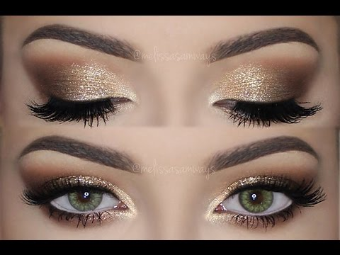 Soft Smokey Eyes & Gold Glitter Eye Makeup Tutorial