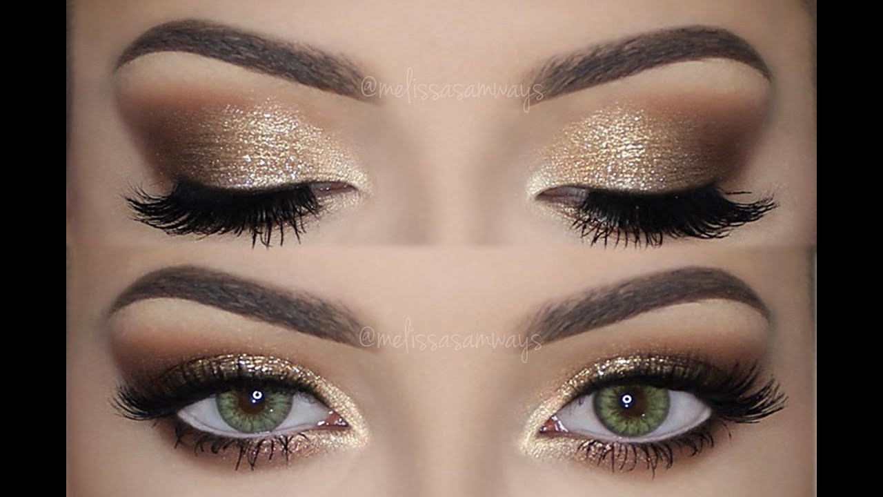 soft smokey eyes amp gold glitter make up tutorial
