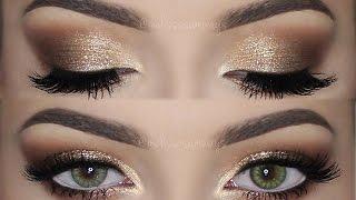 soft smokey eyes gold glitter   make up tutorial