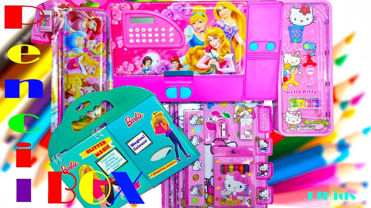 Disney Princess Special Pencil Box Hello Kitty Case And Barbie Magic Book