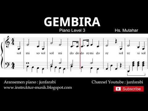 gembira not balok piano level 3 - lagu wajib nasional