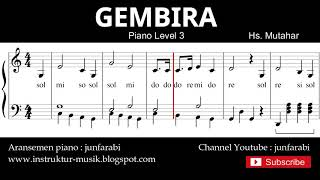 Gambar cover gembira not balok piano level 3 - lagu wajib nasional