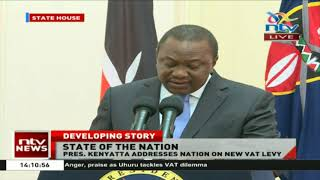 President Uhuru Kenyatta proposes a reduction in VAT on fuel from 16% to 8%