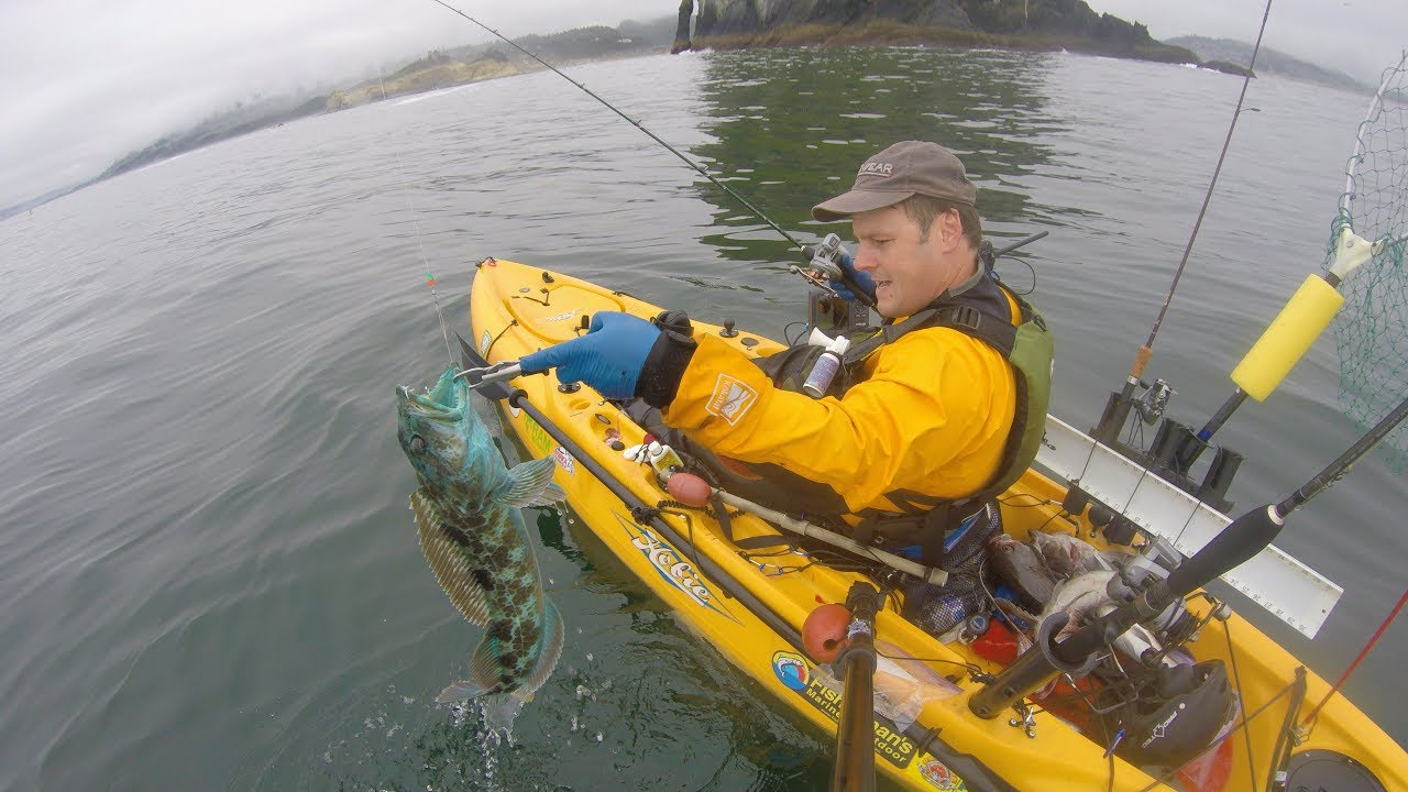 Pacific city oregon kayak rock fish and ling cod fishing for Youtube kayak fishing