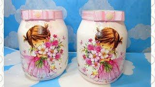 Como Fazer Pote de Vidro com Decougape de Guardanapo para Chá de Bebê