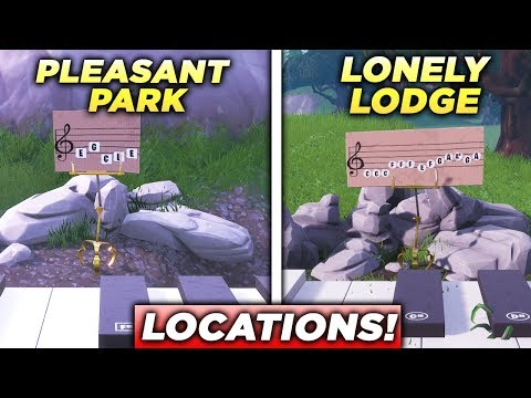 """""""Play the Sheet Music on the pianos near Pleasant Park and Lonely Lodge"""" Locations Fortnite Week 2!"""
