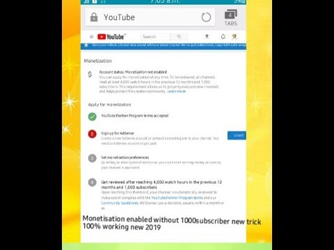 Monetisation enabled without 1000subscriber new trick  100% working new 2019