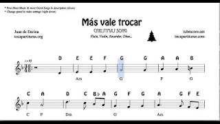 Más vale trocar Christmas Notes Sheet Music for Flute Violin Oboe Voice    Easy Carol Song