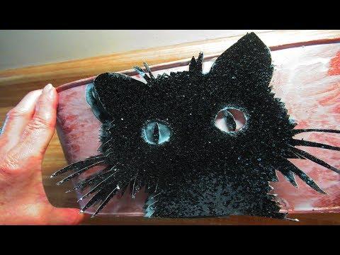 DIY 3D Decoupage a black cat halloween bucket!
