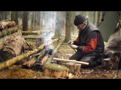 Winter Bushcraft, fire blower, spruce glue and hammocking in a spruce forest.