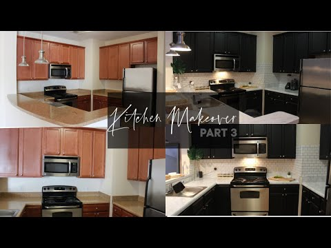 D.I.Y Black Kitchen Cabinets NO PAINT ! Rental friendly kitchen makeover Pt. 3