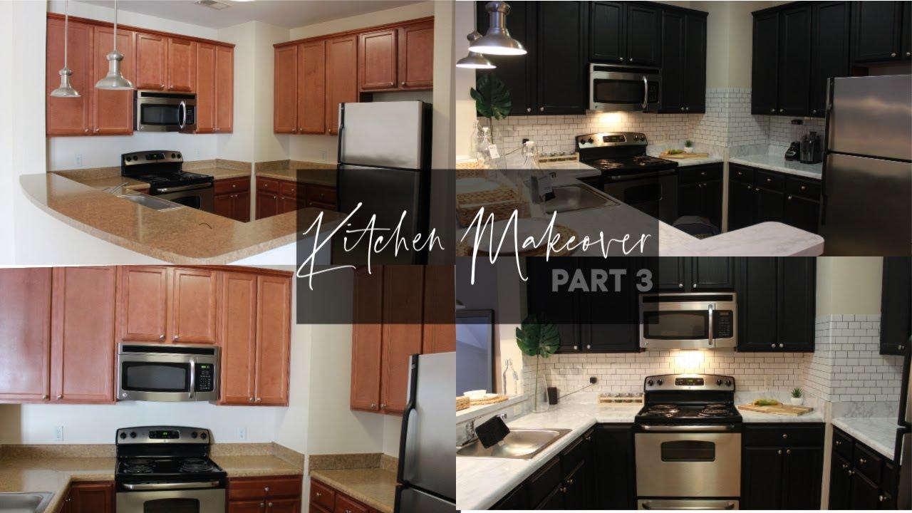 D I Y Black Kitchen Cabinets No Paint Rental Friendly Kitchen Makeover Pt 3 Youtube