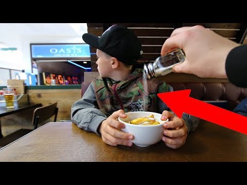 *EXTREME* SALTY FOOD PRANK on LITTLE BROTHER!!!
