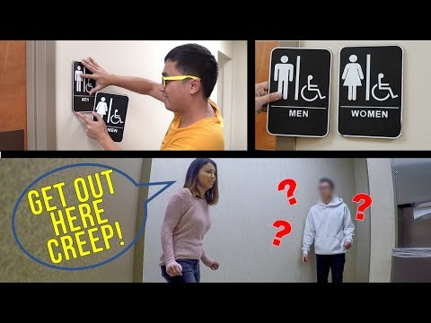 Switching Bathroom Signs Prank!