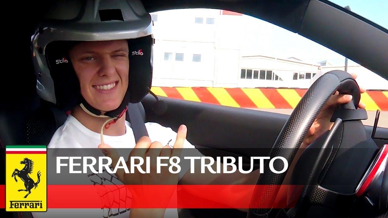 Mick Schumacher test drives the F8 Tributo
