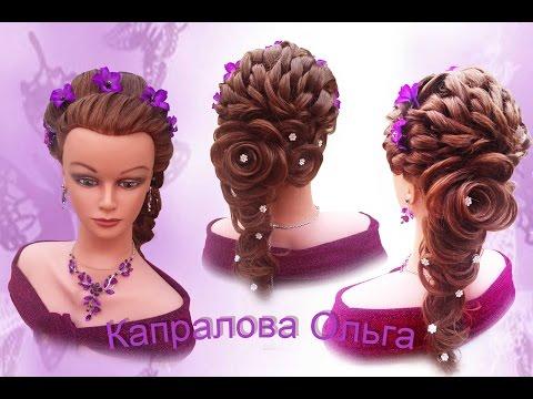 Свадебная прическа с розой из волос.gaya rambut rose Wedding hairstyle Rose hairstyle Kapralova Olga