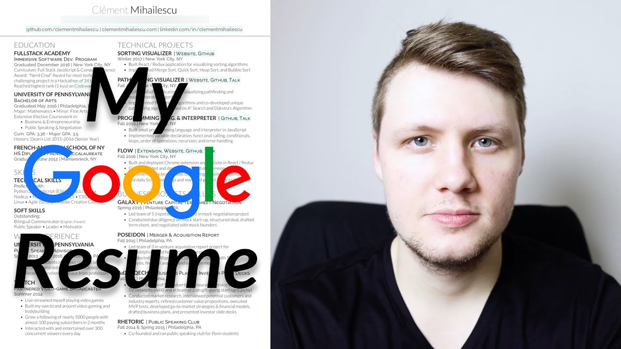The Resume That Got Me Into Google Software Engineer Resume Tips