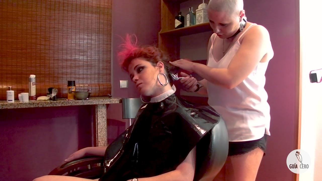 29 Paula Long Dyed Hair Buzzed Nape Extreme Bob Mohawk Bald