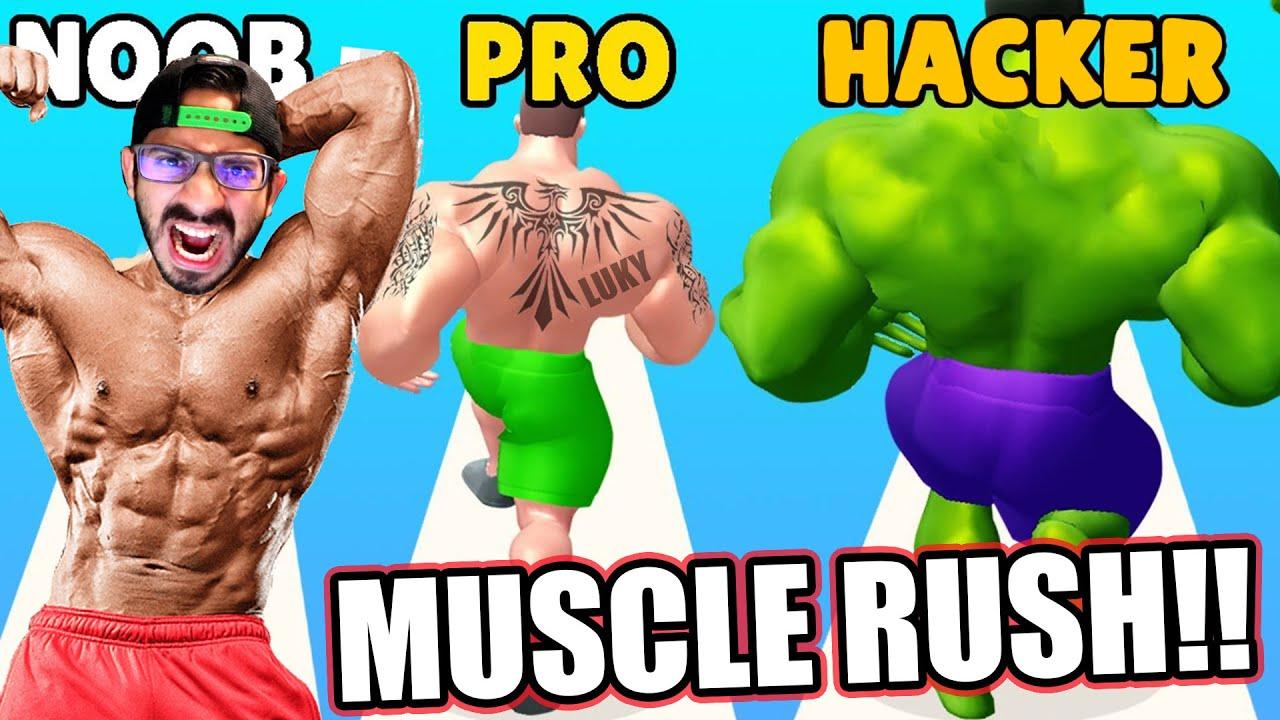 NOOB VS PRO VS HACKER en Muscle Rush | Juegos Luky
