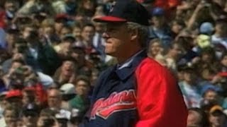 President Clinton throws out first pitch