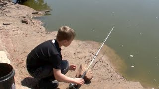 Kid catches Channel Cats from the creek bank!
