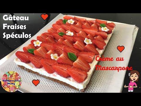🍓-gateau-fraises-speculos-et-creme-au-mascarpone-tres-facile-♡-pâtissez-avec-mary-♡