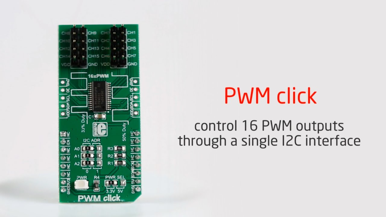 PWM click —board with PCA9685PW IC and 16 PWM outputs