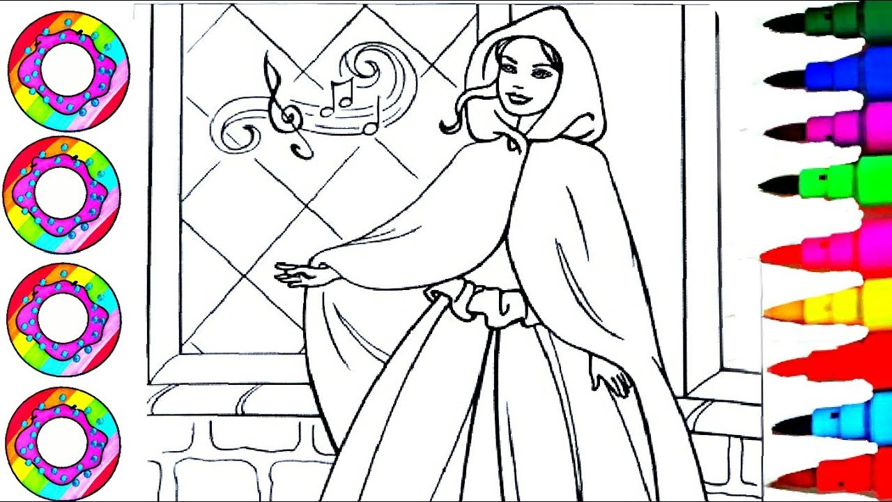 Coloring Drawing Disney\'s Barbie Pearl Princess with a Glitter Cloak ...