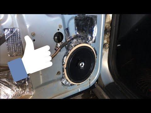 Установка 16 см динамиков в ВАЗ 2110, фронт, установка динамиков в передние двери.