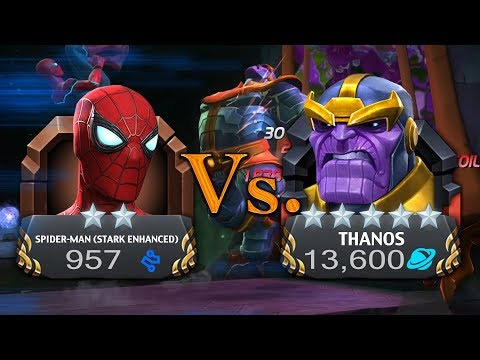 2 Star Spiderman Stark Enhanced Vs. MAXED OUT 5 STAR THANOS Infinity Wars Special