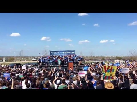 Bernie Sanders Sings 'This Land Is Your Land' At A Much More Upbeat Rally In Austin, Texas.