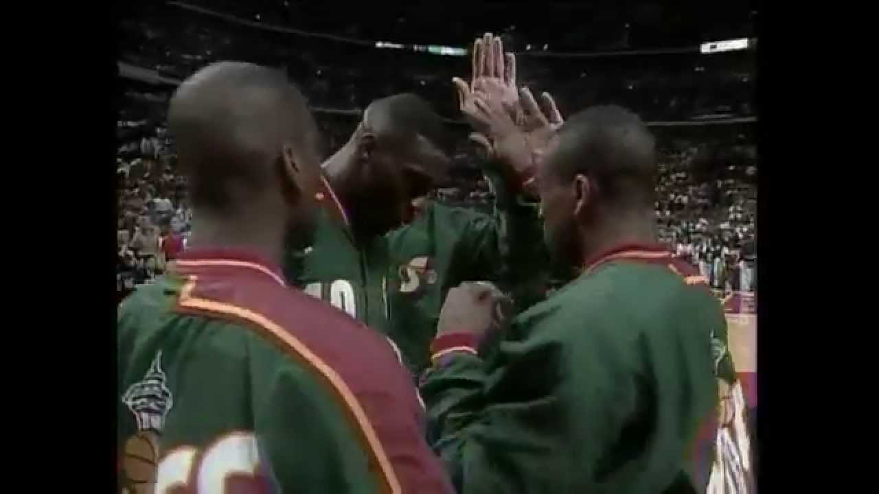 Chicago Bulls Introduction 1996 NBA Finals Game 6 vs Seattle Supersonics - YouTube