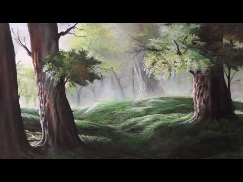 The trees in the rainy season/ landscape painting /acrylic painting
