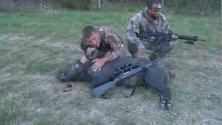 Texas Feral Hog Hunting, 220# Boar Neck Shot @ 175 Yards, Intense Hog Fever!