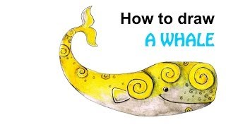 How to draw a whale by Nazneen Bustani - Buddy in New Zealand illustration