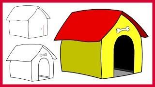 Çocuklar için Adım Acemi Karikatür Köpek Evi çok Kolay bir Adım Çizmek için nasıl