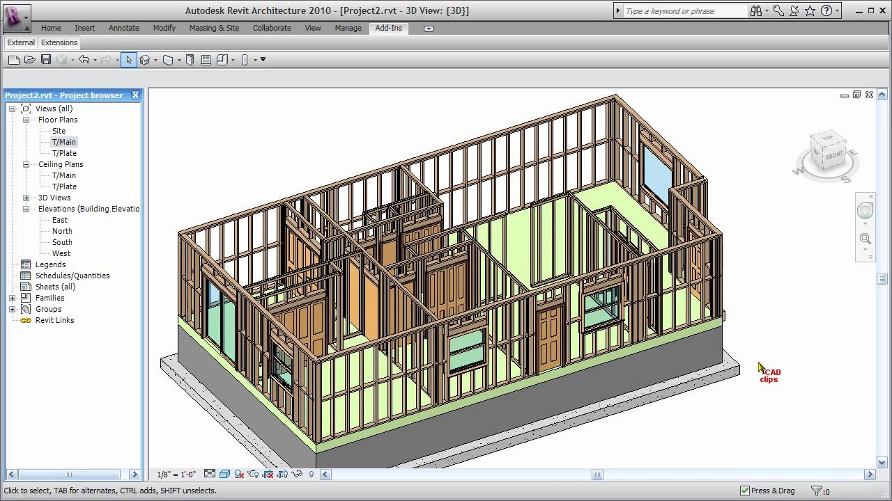 Revit wood framing walls extension cadclip youtube for Wood house design software