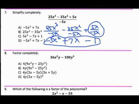 CUNY Algebra Final Exam Sample A Solutions 1-9