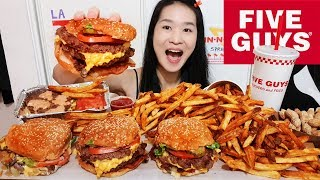 THE BEST BURGER EVER! FIVE GUYS With IN-N-OUT SPREAD Double Bacon Cheeseburger, Cajun Fries Mukbang
