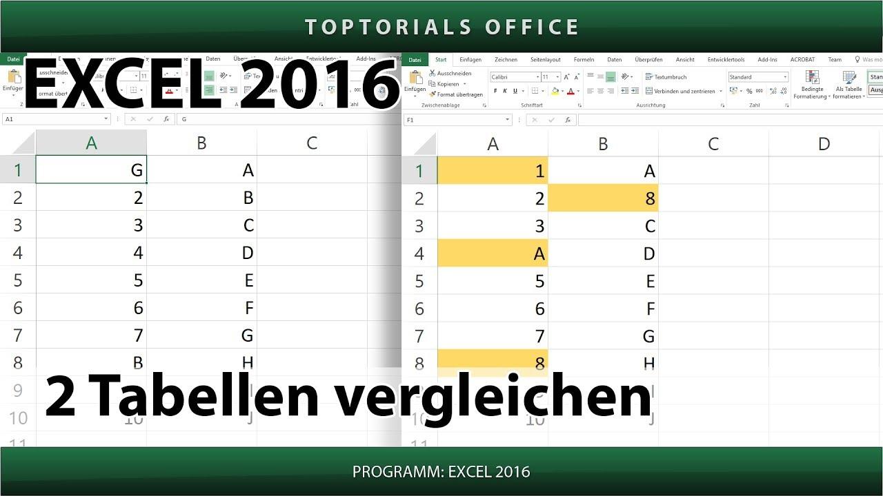 2 Tabellen vergleichen (Excel) - YouTube