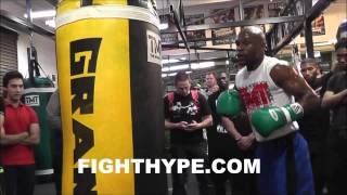 Download FLOYD MAYWEATHER GIVES TIPS ON TECHNIQUE WHILE TRAINING FOR MARCOS MAIDANA Mp3 and Videos