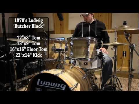 """1970's Ludwig """"Butcher Block"""" Drum Kit Forsale"""