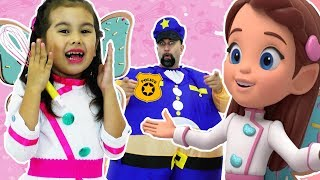 BUTTERBEAN'S CAFE - POLICE VS PRINCESS / PRETEND PLAY POLICE WITH ANNA FROZEN