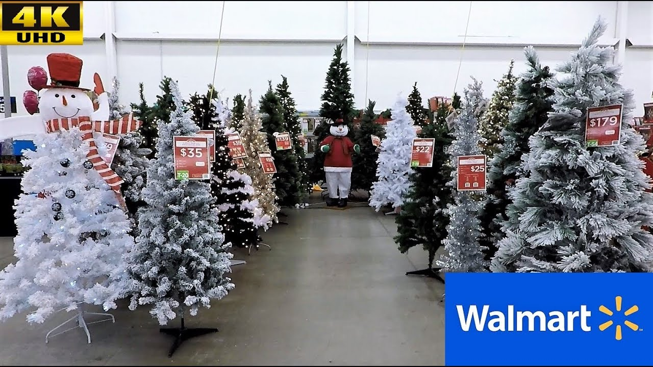 walmart christmas 2018 complete section christmas trees ornaments decorations shopping 4k