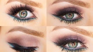 Brown Smoky eye blue under eye and glitter with Sigma products Thumbnail