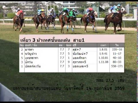 ม้าแข่งสนามขอนแก่น วันอาทิตย์ที่ 14 กุมภาพันธ์ 2559